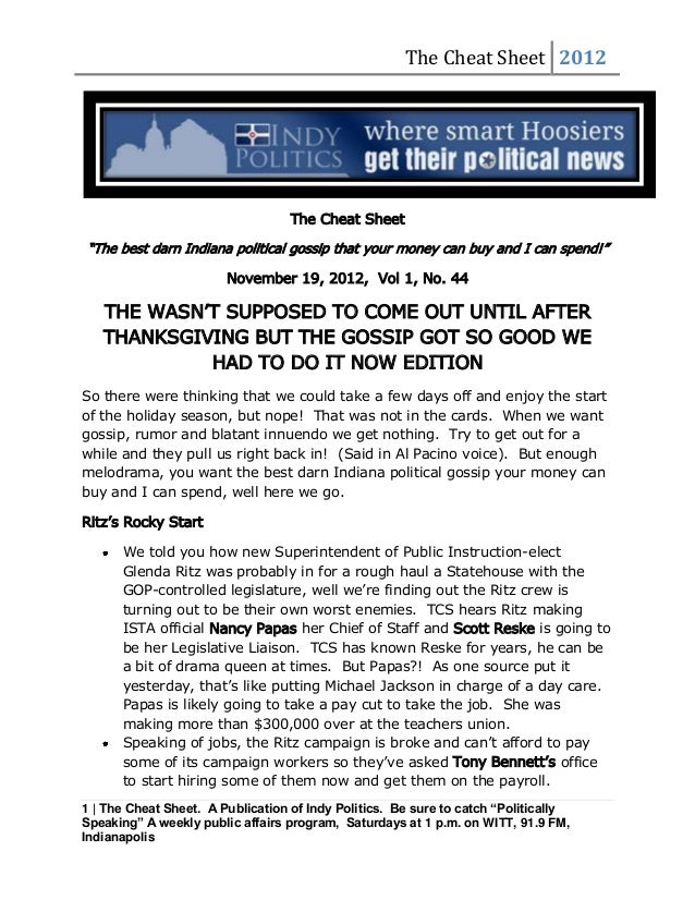 """The Cheat Sheet 2012                                   The Cheat Sheet""""The best darn Indiana political gossip that your mo..."""