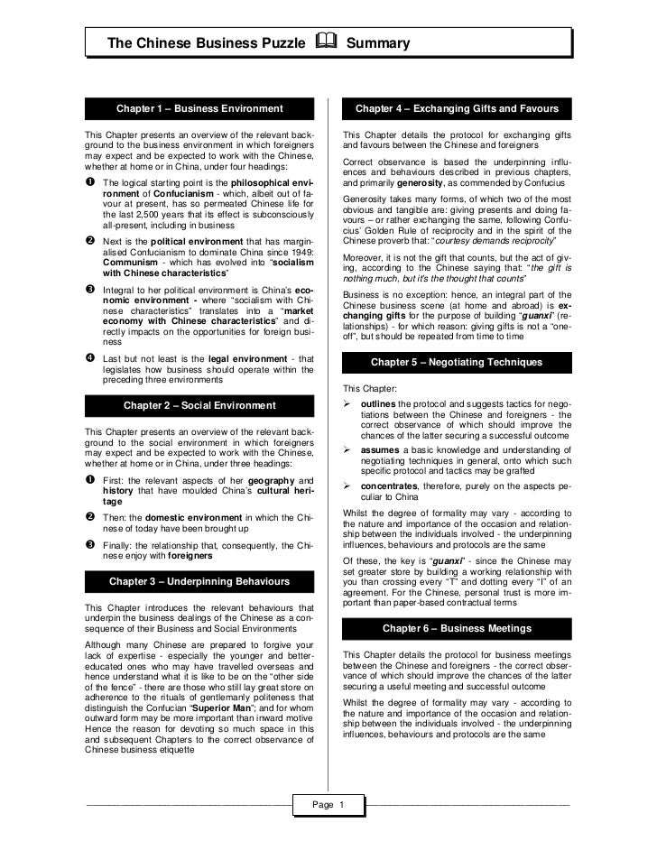 The Chinese Business Puzzle                               Summary        Chapter 1 – Business Environment                 ...