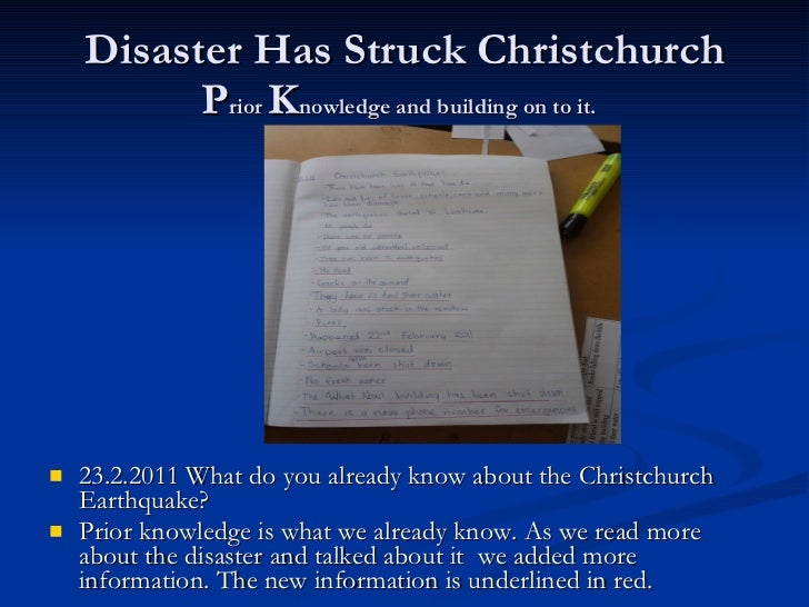 Disaster Has Struck Christchurch P rior  K nowledge and building on to it.   <ul><li>23.2.2011 What do you already know ab...