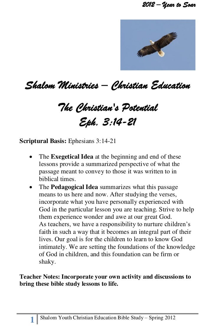 The christian's potential   shalom youth bible study lessons - spring 2012