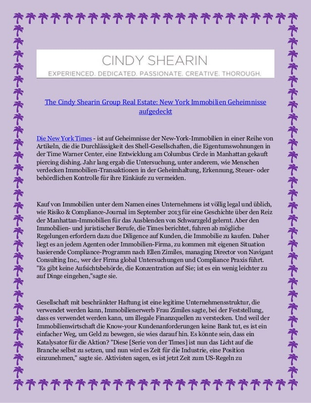 The Cindy Shearin Group Real Estate: New York Immobilien Geheimnisse aufgedeckt Die New York Times - ist auf Geheimnisse d...