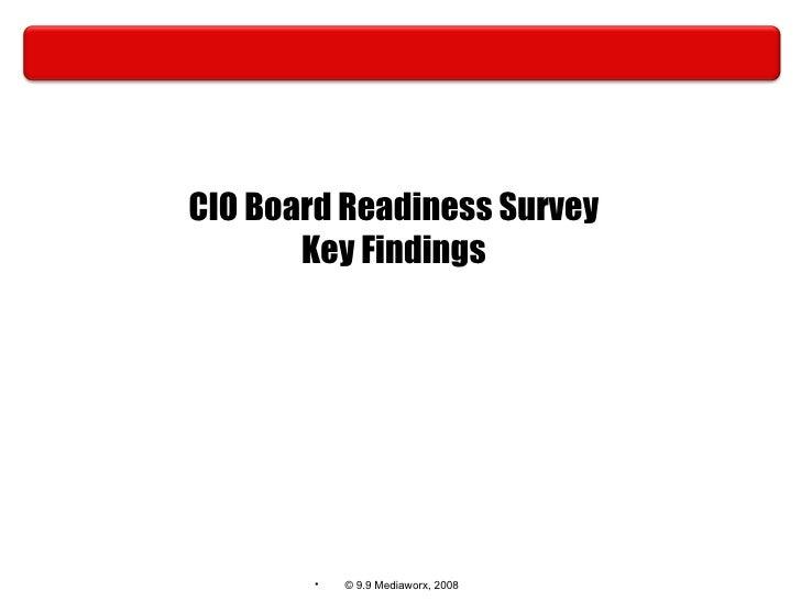CIO Board Readiness Survey Key Findings
