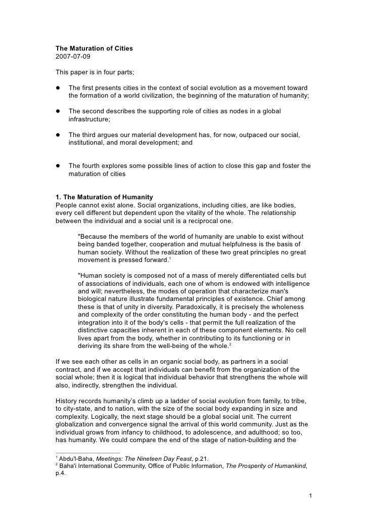 The Maturation of Cities2007-07-09This paper is in four parts;   The first presents cities in the context of social evolu...