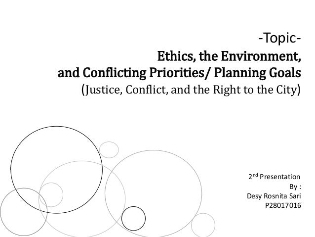 -TopicEthics, the Environment, and Conflicting Priorities/ Planning Goals (Justice, Conflict, and the Right to the City)  ...