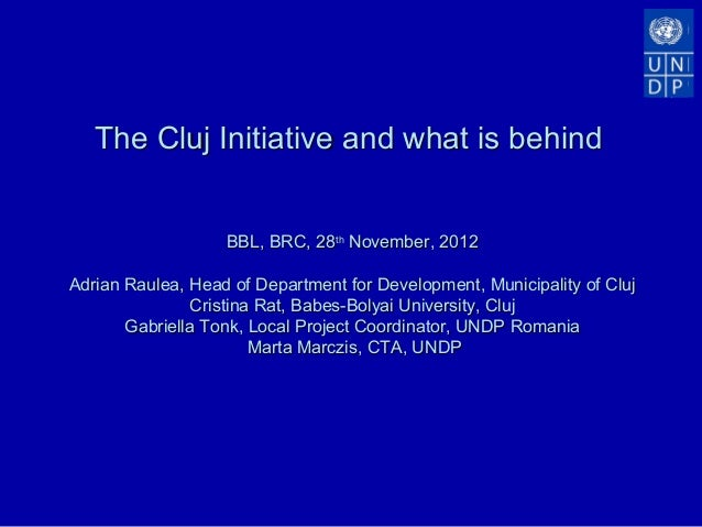 The Cluj Initiative and what is behind                   BBL, BRC, 28th November, 2012Adrian Raulea, Head of Department fo...