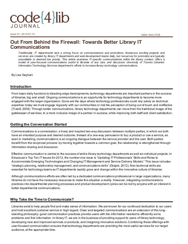 Issue21,20130715  ISSN19405758  OutFromBehindtheFirewall:TowardsBetterLibraryIT Communications Traditionally...