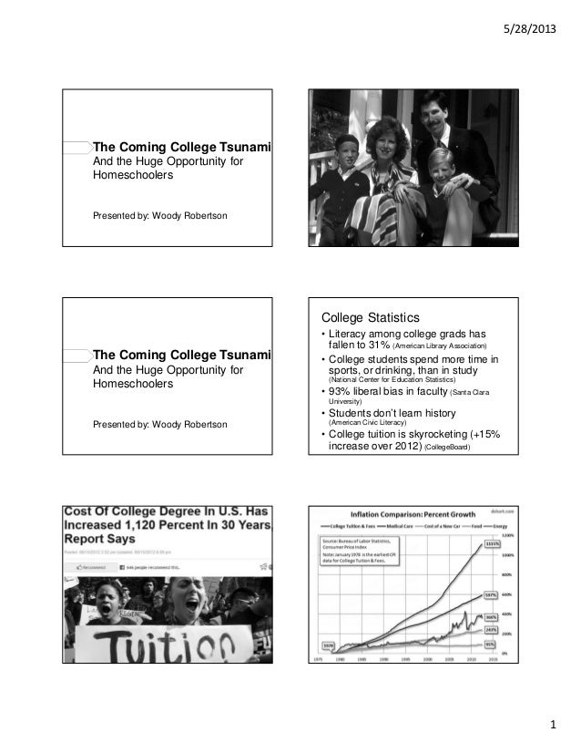 5/28/20131The Coming College TsunamiAnd the Huge Opportunity forHomeschoolersPresented by: Woody RobertsonThe Coming Colle...
