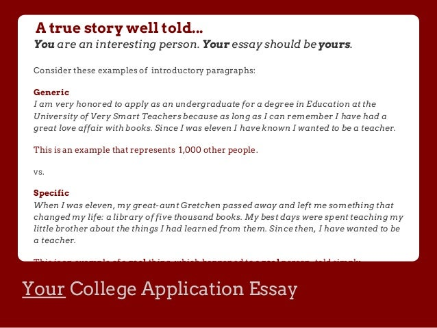 Essay suggestions for college applications