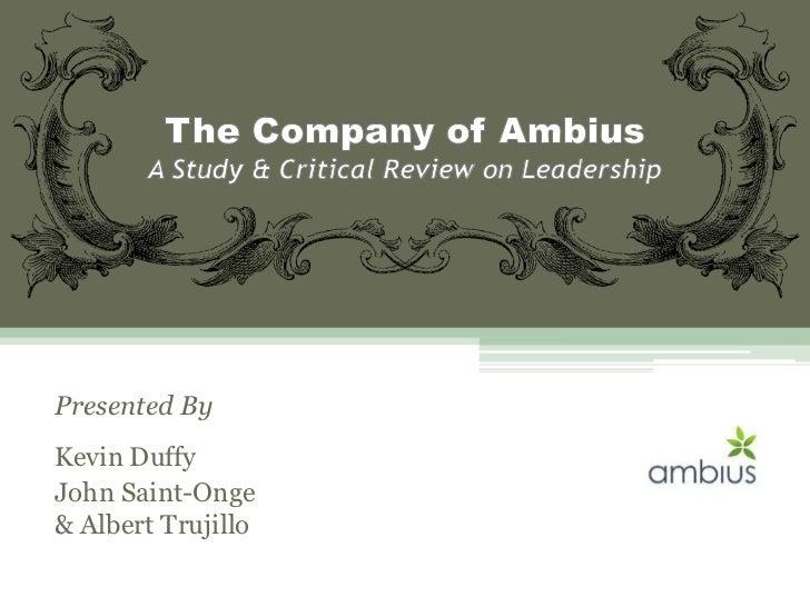 Presented ByKevin DuffyJohn Saint-Onge& Albert Trujillo