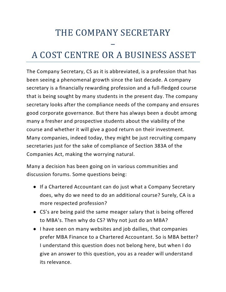 THE COMPANY SECRETARY <br />–<br /> A COST CENTRE OR A BUSINESS ASSET<br />The Company Secretary, CS as it is abbreviated,...