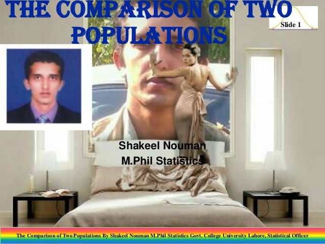 The Comparison of Two Populations  Slide 1  Shakeel Nouman M.Phil Statistics  The Comparison of Two Populations By Shakeel...