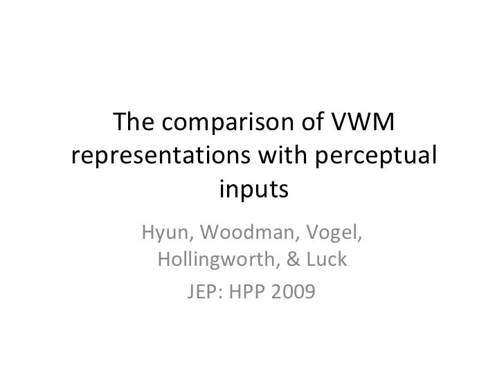The comparison of VWM representations with perceptual inputs Hyun, Woodman, Vogel, Hollingworth, & Luck JEP: HPP 2009