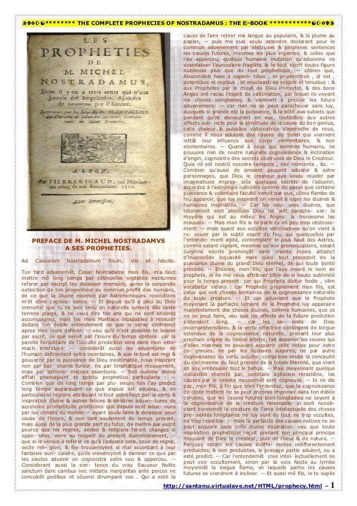 ******** THE COMPLETE PROPHECIES OF NOSTRADAMUS : THE E-BOOK ***********                                                  ...