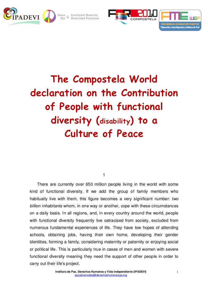 The Compostela Worlddeclaration on the Contribution   of People with functional    diversity (disability) to a       Cultu...