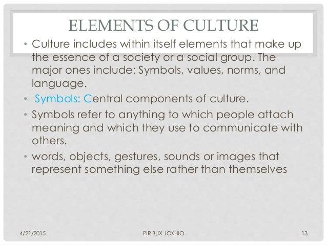 Symbols Elements of Culture Elements of Culture • Culture