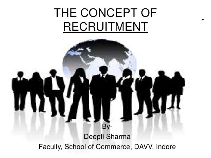 THE CONCEPT OF     RECRUITMENT                    By-              Deepti SharmaFaculty, School of Commerce, DAVV, Indore