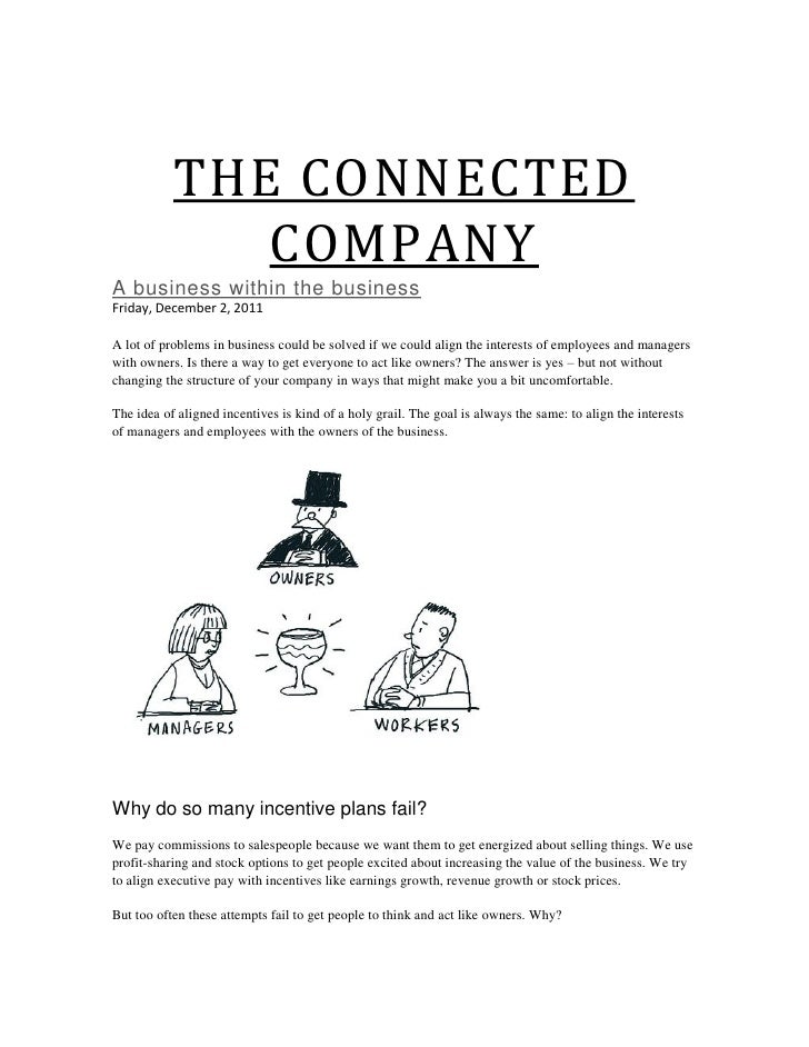 THE CONNECTED              COMPANYA business within the businessFriday, December 2, 2011A lot of problems in business coul...