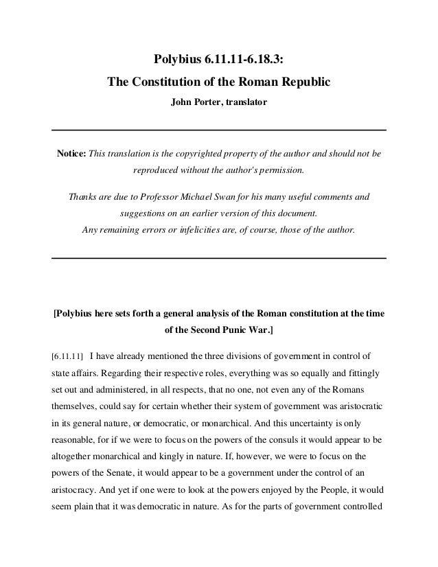 Polybius 6.11.11-6.18.3:              The Constitution of the Roman Republic                                John Porter, t...
