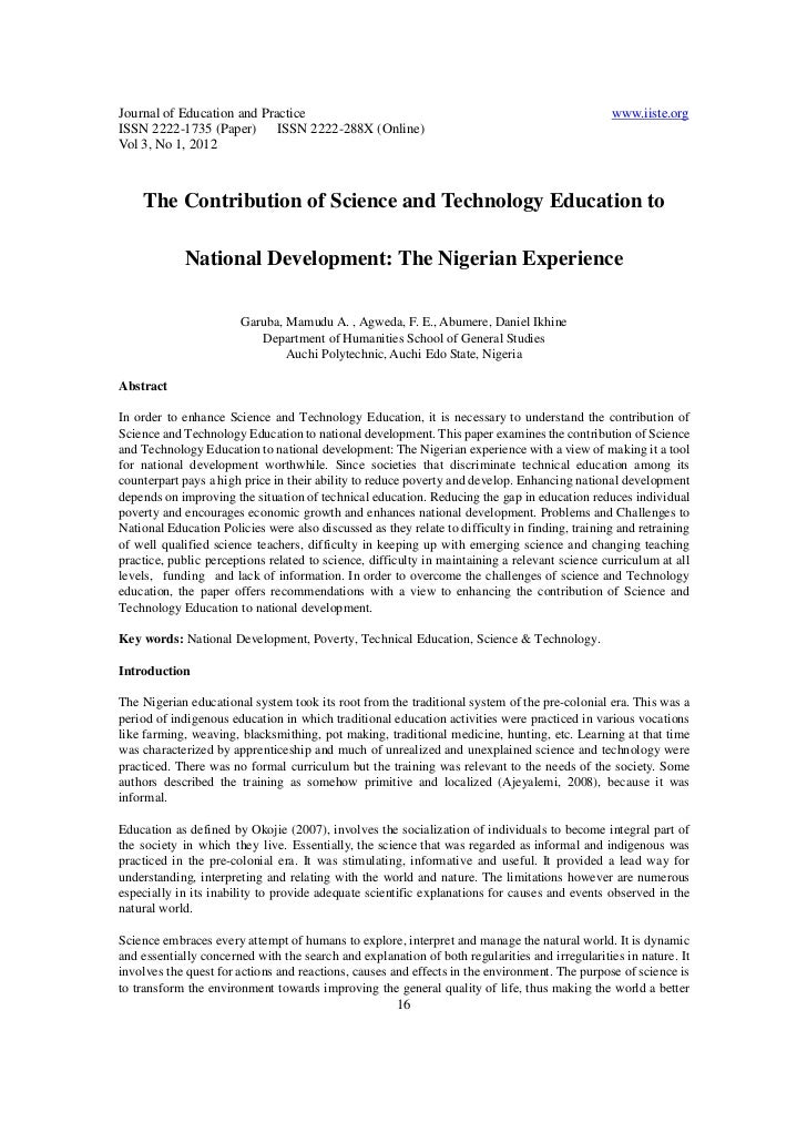 The contribution of science and technology education to nigera