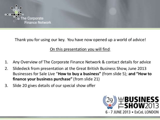 The corporate finance network at the great british business show