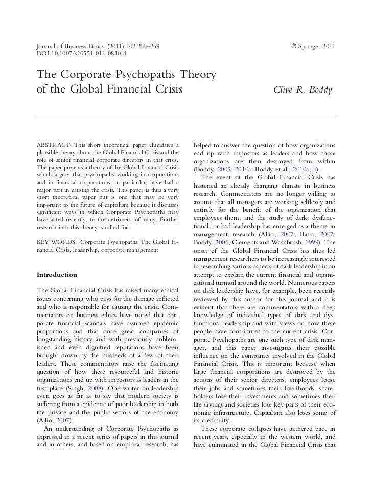 Thecorporatepsychopathstheoryoftheglobalfinancialcrisisbycliverboddy 111231051837-phpapp02
