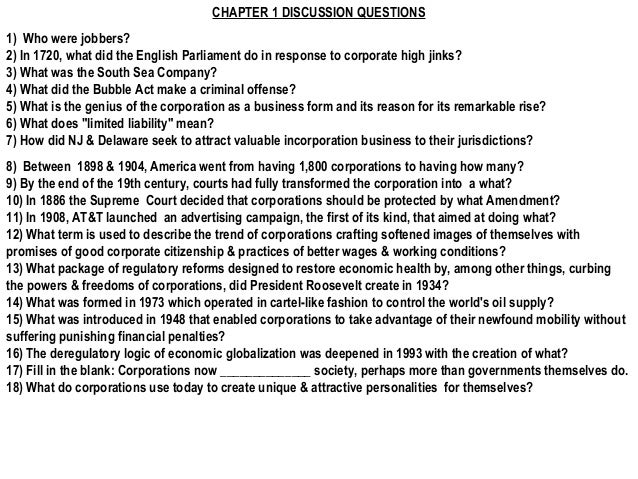 CHAPTER 1 DISCUSSION QUESTIONS1)Who were jobbers?2) In 1720, what did the English Parliament do in response to corporate ...