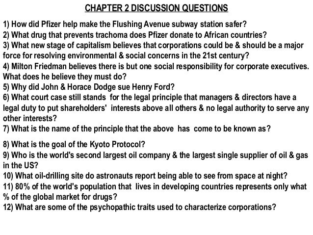 CHAPTER 2 DISCUSSION QUESTIONS1) How did Pfizer help make the Flushing Avenue subway station safer?2) What drug that preve...