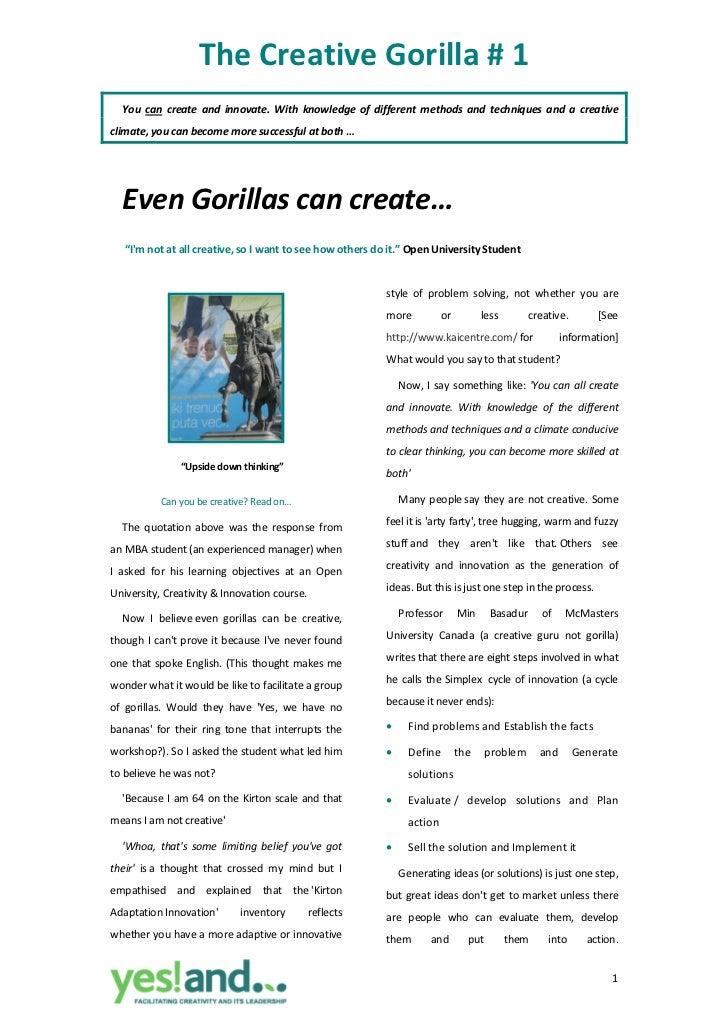 Creative Gorilla #1 ~ Gorillas Can Create Too