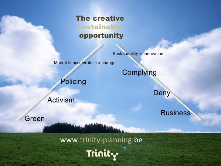 www. trinity-planning .be The creative  sustainable   opportunity Green Business Activism Deny Policing Complying Market i...