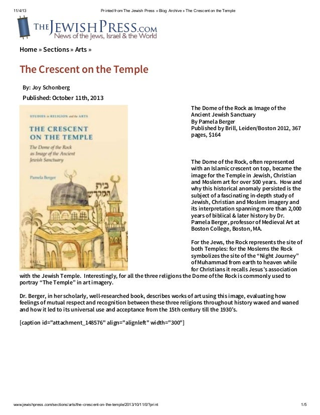 11/4/13  Printed from The Jewish Press » Blog Archive » The Crescent on the Temple  Home » Sections » Arts »  The Crescent...