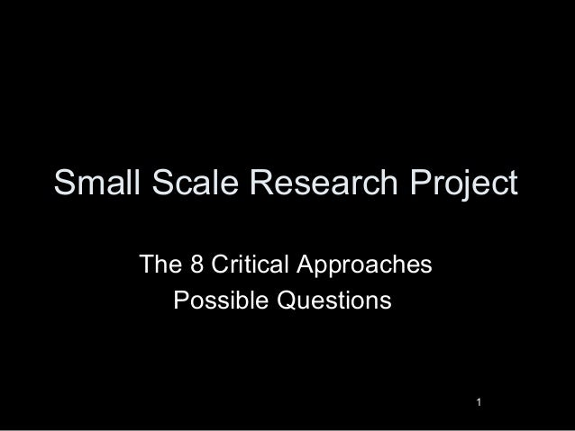 Small Scale Research Project The 8 Critical Approaches Possible Questions 1