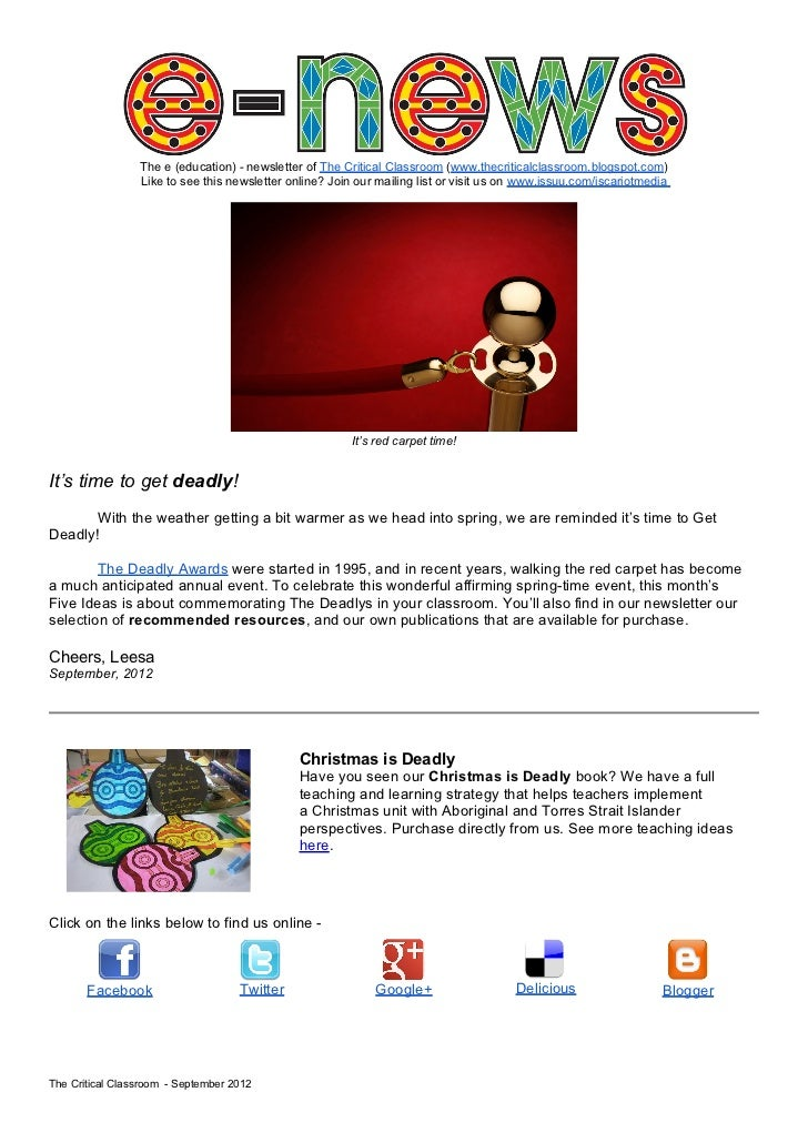 The e (education) - newsletter of The Critical Classroom (www.thecriticalclassroom.blogspot.com)                 Like to s...