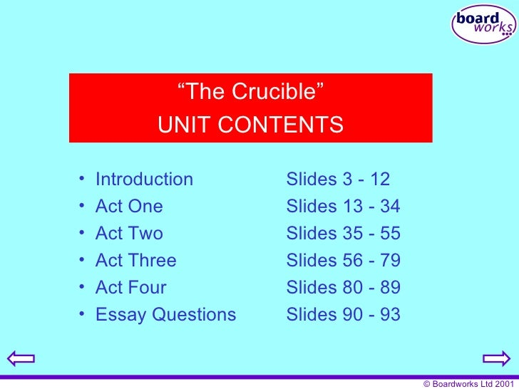 essay questions on the crucible by arthur miller The novel, the crucible was written in 1953 by arthur miller, which was based on the salem witch trials existing in the late 1600s in the play, abigail and several other young women accuse.