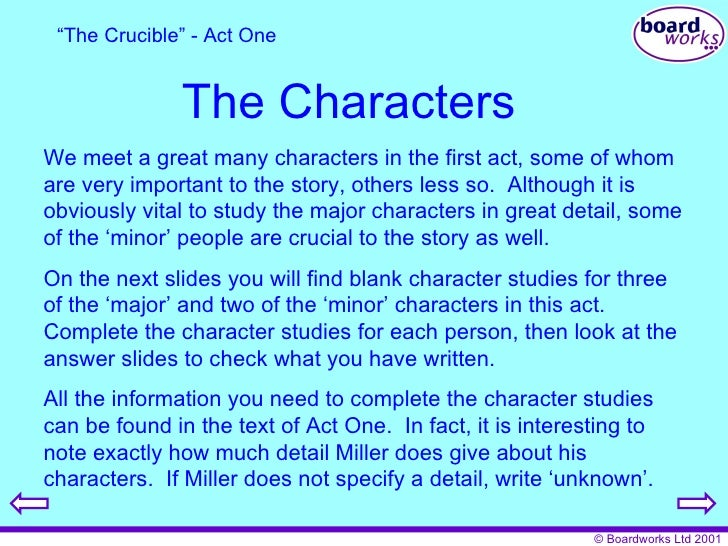 crucible essay character analysis Essays and criticism on arthur miller's the crucible - critical essays act i, scene 1 summary and analysis act i, scene 2 summary analyze what a good name means to some of the characters in the crucible.