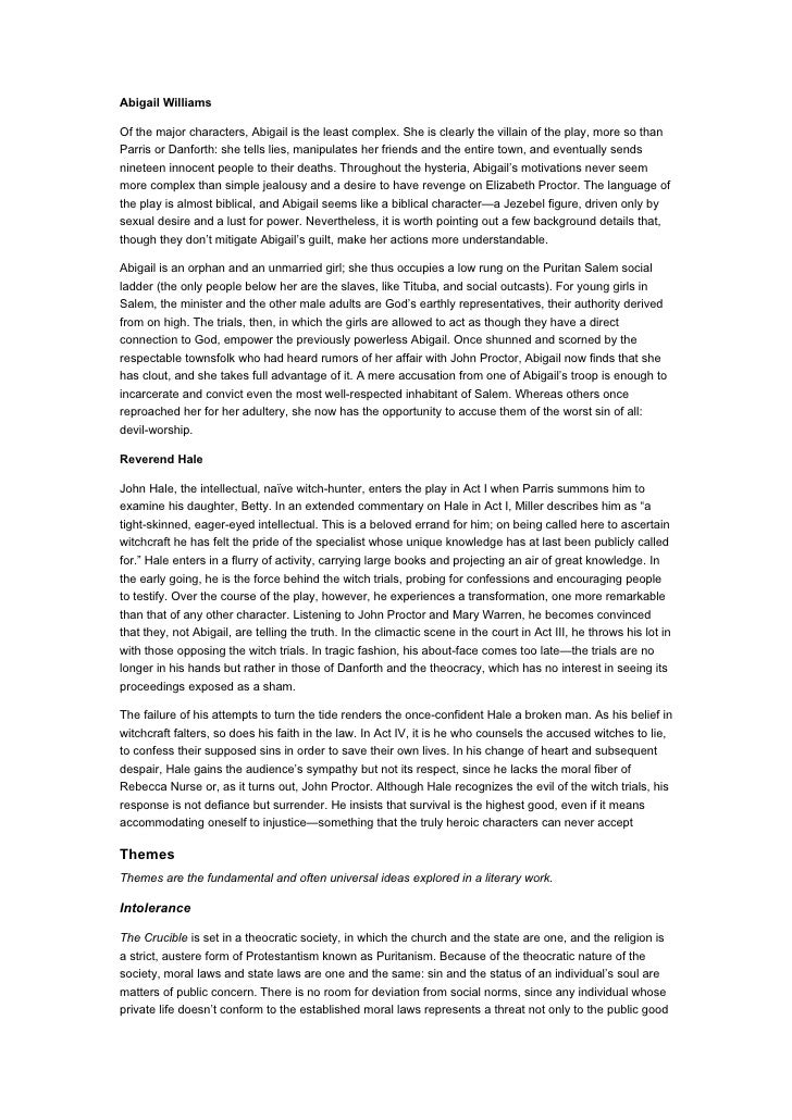 essays on abigail williams from the crucible Free essays on the crucible: the character of abigail williams - the crucible – the character of abigail abigail williams the main character in the crucible by arthur.