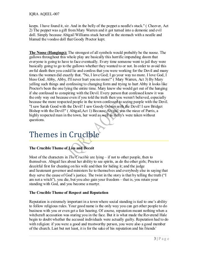 an analysis of the evil character in the crucible