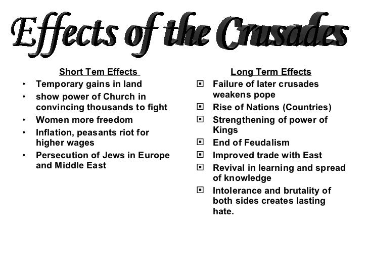 the cause and effect of the first crusade essay The crusades: significance for christianity today essay  the first crusade had the effect of uniting the  significance for christianity today essay.