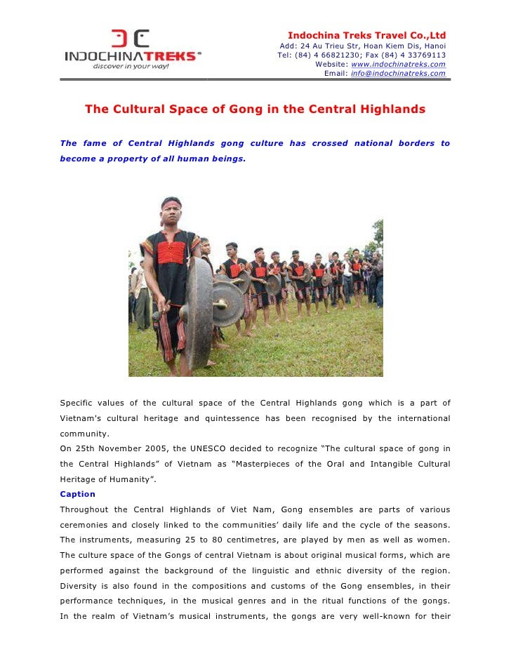 The cultural space of gong in the central highlands