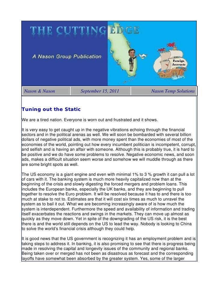 Nason & Nason                  September 15, 2011                     Nason Temp SolutionsTuning out the StaticWe are a ti...