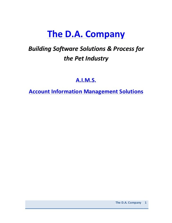 "The D.A. Company  ""Building Sales Software Solutions & Process for the Pet Industry"""
