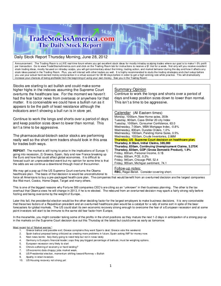 Daily Stock Report Thursday Morning, June 28, 2012 Announcement: The Trading Room is a LIVE real-time forum where you get ...