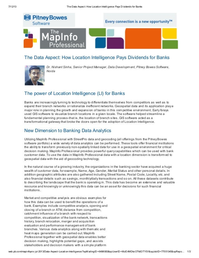 7/12/13 The Data Aspect: How Location Intelligence Pays Dividends for Banks web.pb.com/mapinfopro-jul-2013/Data-Aspect-Loc...