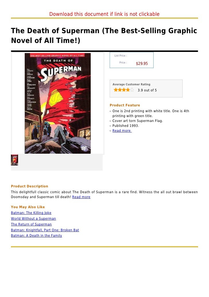 Download this document if link is not clickableThe Death of Superman (The Best-Selling GraphicNovel of All Time!)         ...