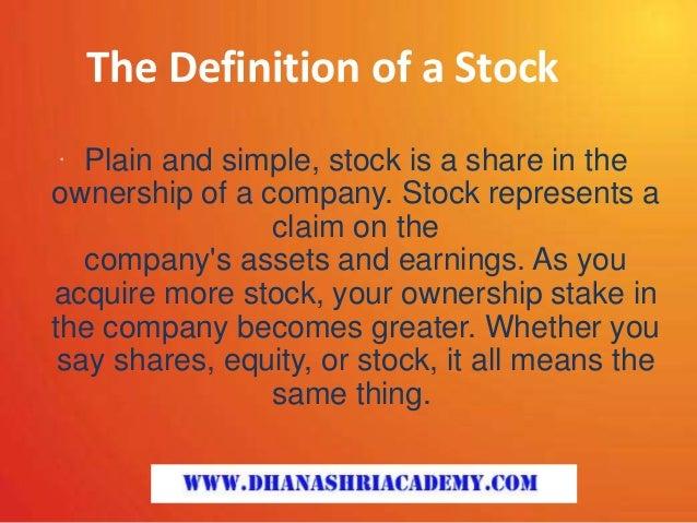 Definition of 'Stocks'