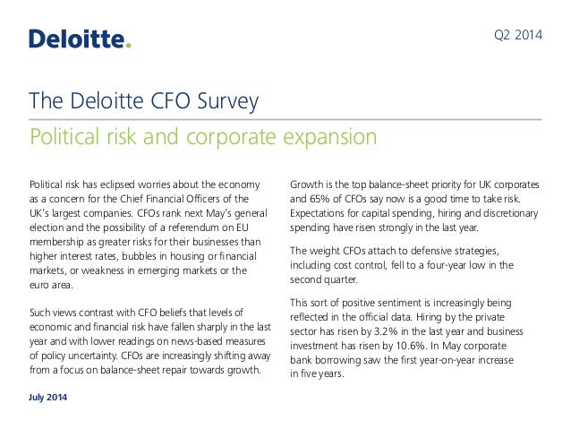 Political risk has eclipsed worries about the economy as a concern for the Chief Financial Officers of the UK's largest co...