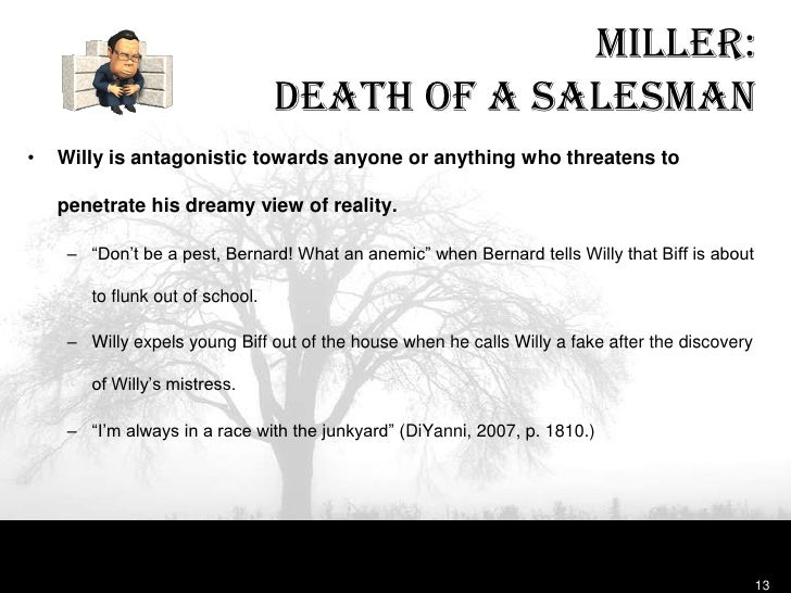 thesis statement death of a salesman The 'american dream' is one of the key themes in arthur miller's 'death of a salesman' explore how the characters willy, ben, and biff define that dream.