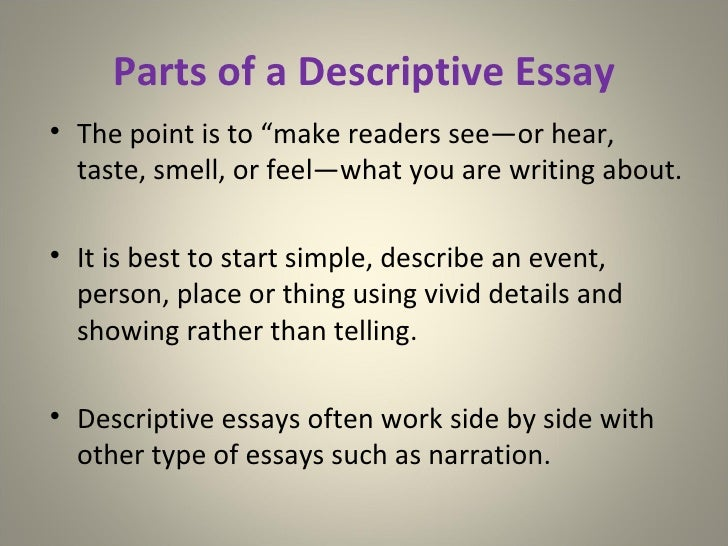 3 parts of descriptive essay The introduction opens the essay it is a short paragraph – usually about three sentences in an argument essay, it usually describes or summarizes both sides of the present situation and says what you are going to do in your essay read more about introductions here the body is the main part of.