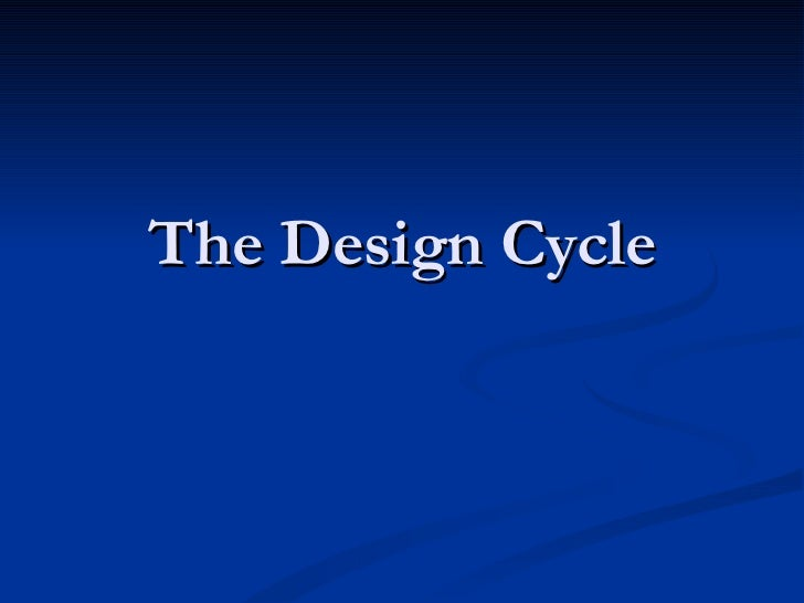 The design cycle  personal project connection