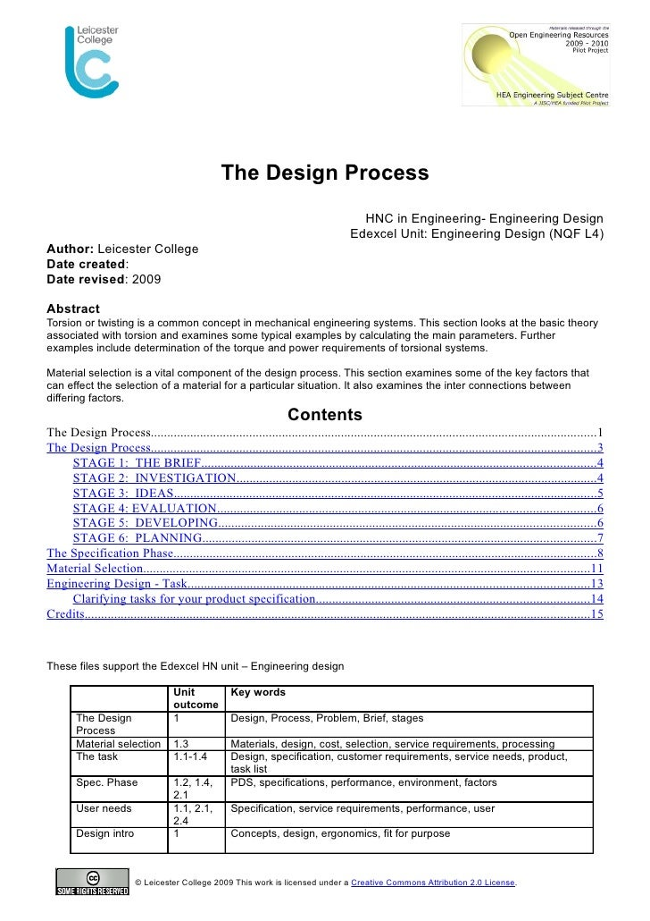 The Design Process                                                                                           HNC in Engine...