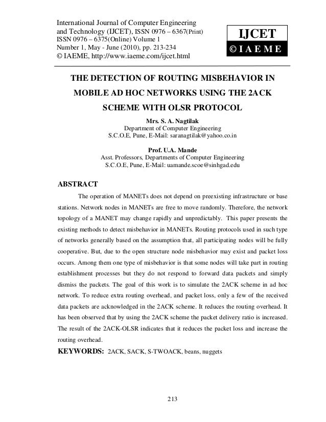 The detection of routing misbehavior in mobile ad hoc networks using the 2 ack scheme with olsr protocol